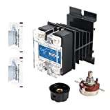CGELE Solid State Relay SSR-40VA 500K ohm 2W to 24-480VAC 40A Single Phase Solid State Relay Resistance Voltage Regulator Authorized+Heat Sink+Potentiometer+A knob