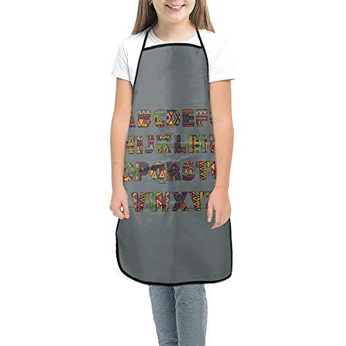 SRhui Delantal para niños, 24 Letras en Patrones africanos Disfraz de Chef para niños, Delantal para niños con Bolsillo