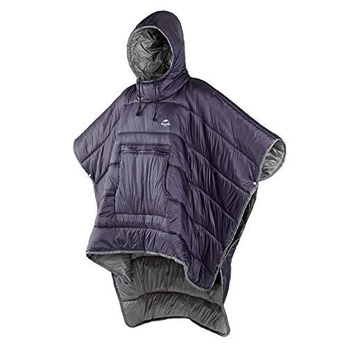 Tentock Unisex Winterponcho mit Kapuze Warmer Decken Kapuzenpullover Ultraleichter Schlafsack Wasserdicht Kleine Steppdecke für Outdoor Camping Wandern(lila)