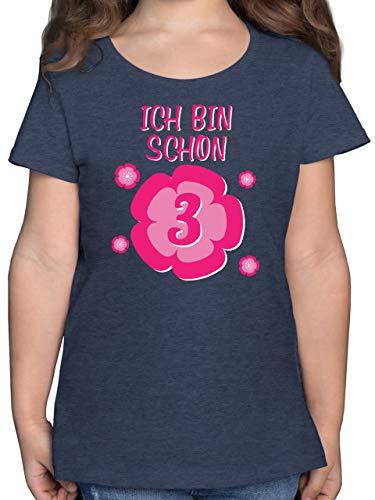 Geburtstag Kind - Ich Bin Schon 3 Blume - 140 (9/11 Jahre) - Dunkelblau Meliert - Spruch - F131K - Mädchen Kinder T-Shirt