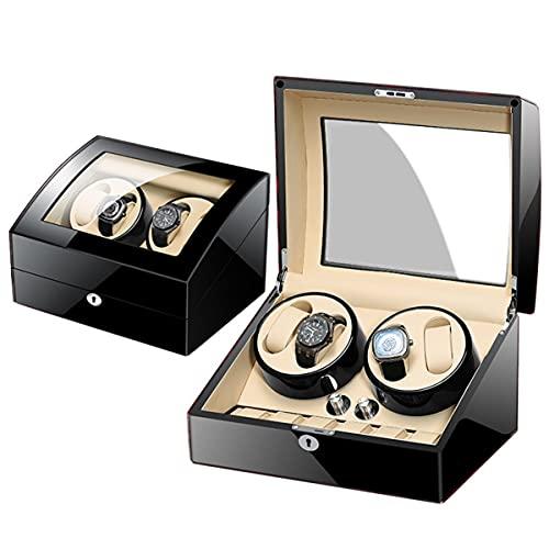 Pretty Store Automatische Uhrenbewegungs Box, Wristwatch Wickelbox Holz Uhrenbeweger Box Mit Leisem Motor, Batteriebetriebenem Oder Netzteil Für Mehr Uhren (Color : 4+6 A)