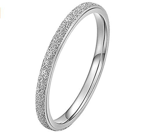 PAURO Damen Ring aus Edelstahl Silber 2Mm Stapelbar Ehering Sandblast Finish Größe 52