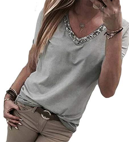 ASKSA Sommer Damen T-Shirt Kurzarm Bluse V-Ausschnitt Glitzer Pailletten Blouse Patchwork Einfarbig Oberteil Lose Tunika Tops (Grau, M)