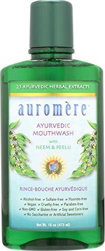 Auromere Ayurvedic Mouthwash - Vegan, Fluoride Free, Alcohol Free, Natural, Non GMO (16 fl oz), 1 Pack
