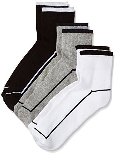 Van Heusen Men's Socks (Pack of 3) (VXT11154_White, Black and L.Grey)