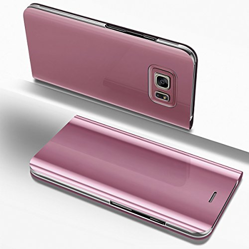 Ysimee Coque Samsung Galaxy S6, Étui Folio à Rabat Clear View Case Couleur Unie Translucide Miroir Housse de Protection Fonction Support Ultra Mince Flip Portefeuille Coque pour Galaxy S6, Or Rose