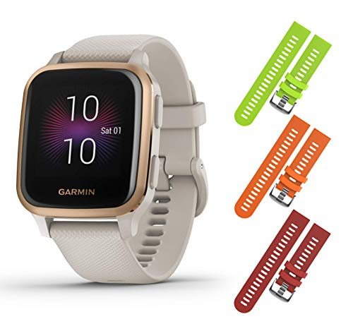 Garmin Venu Sq Music GPS Fitness Smartwatch and Included Wearable4U 3 Straps Bundle (Lime/Orange/Red, Light Sand/Rose Gold 010-02426-01)