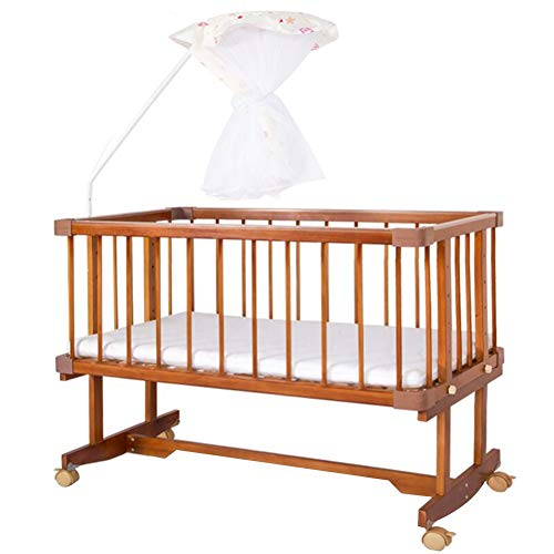 Best Prices! XJJUN-Rocking crib Mosquito Net Diaper Table Splicing Bed Universal Wheel Wood Corrosio...