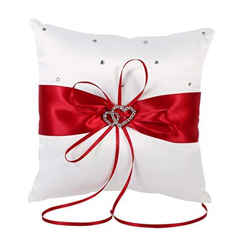 Almohada 4 Colores Almohada de Anillo de Boda Almohada Cojín de Forma Cuadrada con Mancha de Bowknot Corazones Dobles Diamantes Elegante Delicado(Rojo)