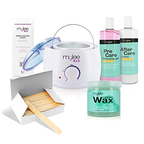 Mylee Complete Waxing Kit, Includes Salon Quality Wax Heater, Soft Cream Wax, Waxing Strips,...