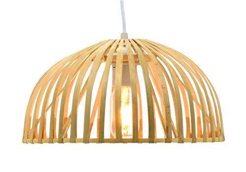 Lusiel Hanoi 40 - Lámpara colgante de bambú, 60 W, natural, diámetro 40 x altura 22 cm