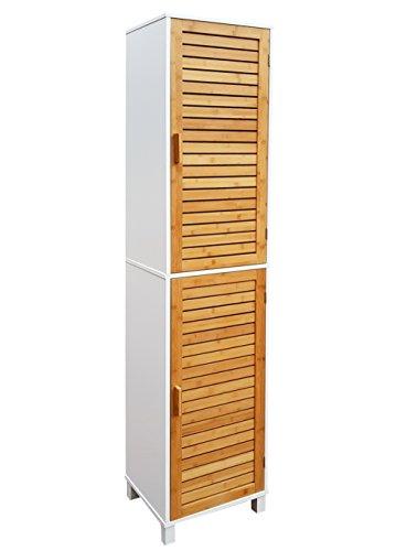 NORDIC osoltus Badregal Bad Hochschrank 190cm Wandschrank Bambus braun Holz weiß