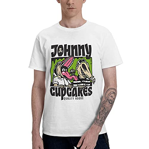 COOTHING Beetlejuice Cup Cake Mans Vintage Simple Printed Basic Light Weight White T Shirt Clothes
