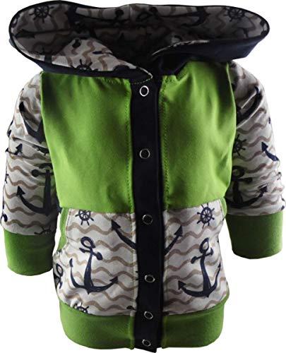 KLEINER FRATZ Baby/Kinder Kaputzen Jacke ANKERDESIGN mit Bauchtasche (Farbe Anker Navy/Welle beige/Bund Lime) (Größe 66/76)
