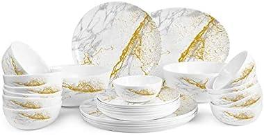 Cello Divine Marbella Opalware/ Super White Dinner Set/Break & Chip Resistant/ Smooth Surface Dinnerware Set (27 Pieces,