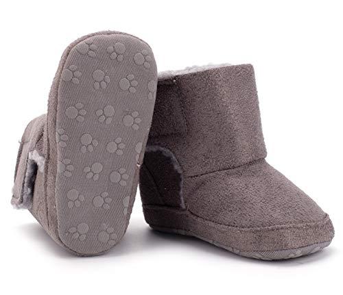 "Bebila Baby Boots Warm Winter First Walker Soft Fleece Fur Lined Toddler Booties Anti-Slip Sole Shoes for Girls Boys (US 6M/5.12""/13cm, Gray)"