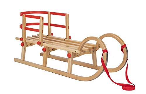 Impag® Klappschlitten Hörnerschlitten TATRY | 115 cm lang | flach klappbar | stabiles Buchenholz | belastbar bis 110 kg | Zuggurt und Sicherheits-Lehne | TÜV geprüft