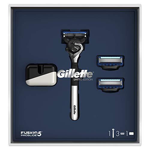 Gillette Fusion5 ProGlide Maquinilla de Afeitar Edición Limitada con Mango Cromado + 2 Cuchillas de Recambio + Soporte, Set de Regalo