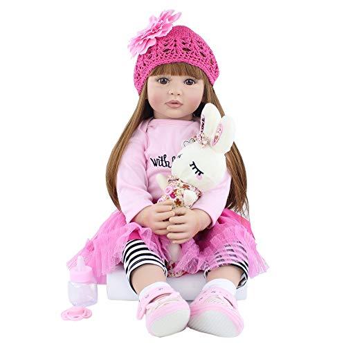 Zero Pam Alive Reborn Girl Puppen, realistisches Kaukaser-Mädchen mit rosa Kleidung und langen braunen Haaren, 60 cm