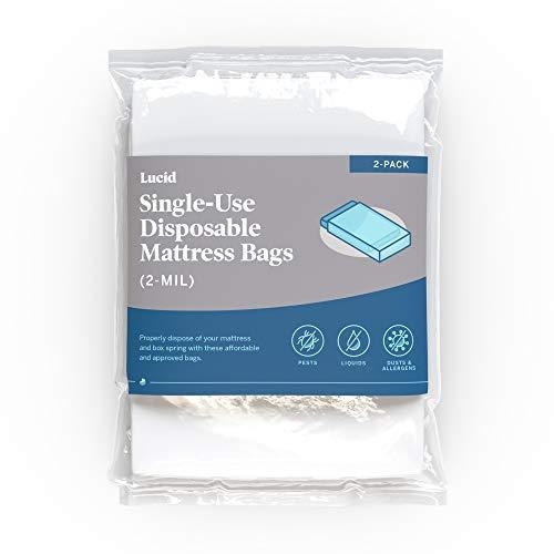 LUCID 2 Bolsas de colchón para Mover, almacenar o desechar, Bolsas de plástico de 2 mil, Bolsas Desechables de un Solo Uso