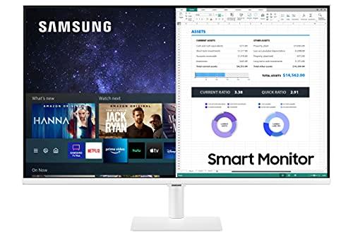 "Samsung Smart Monitor M5 (S32AM503), Flat 32"", 1920x1080 (Full HD), Piattaforma Smart TV (Amazon Video, Netflix), Airplay, Mirroring, Office 365, Wireless Dex, Casse Integrate, WiFi, HDMI, Bianco"