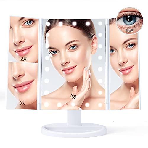 Schminkspiegel mit Licht, 10X/3X/2X/1X Schminkspiegel mit Beleuchtung, Faltbarer Kosmetikspiegel, Batteriebetrieben/USB Aufladen Dimmbarer Led Kosmetikspiegel, Klappspiegel