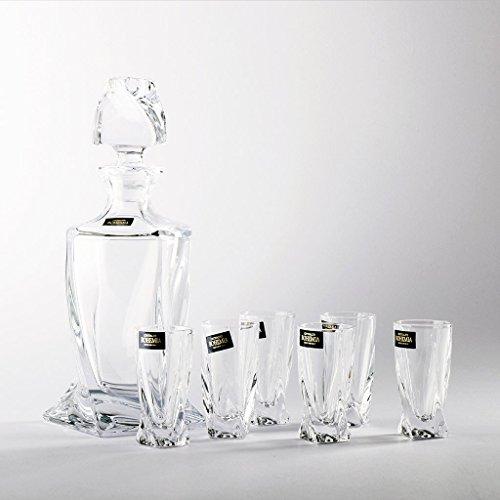 6 Gläser Crystalite Bohemia Likör Set mit Karaffe PM200_shot