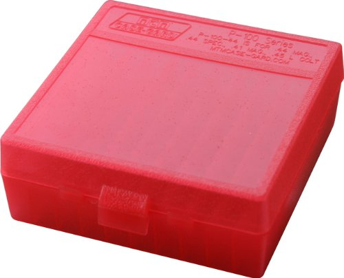 MTM 100 Round Flip-Top Ammo Box 41 44 Cal (Clear Red)
