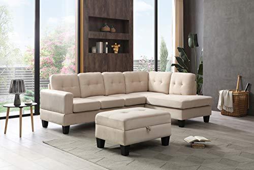Glory Furniture Monaco Sectional, Ivory