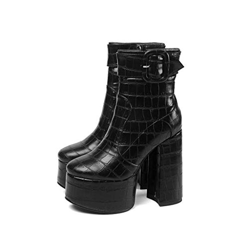 MSSugar Damenmode Stiefel Round Toe Buckle Herbst & Winter Stiefel Blockabsatz Closed Toe Booties/Stiefeletten/Minimalismus Wanderschuhe,B,38