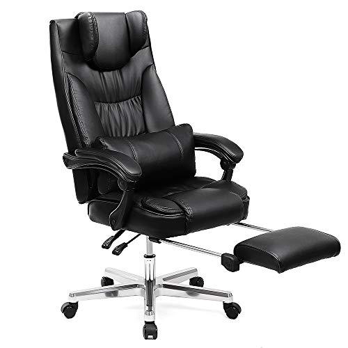 SONGMICS Erstellt, Luxus Bürostuhl mit klappbarer Kopfstütze ausziehbarer Fußablage Extra großer orthopädischer Chefsessel ergonomischer Gaming Stuhl schwarz OBG75B, Lederimitat, 91,4 x 66,4 x 37,4 cm