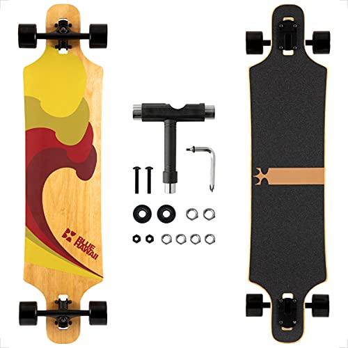 Longboard, Komplettboard mit Deck aus Bambus & Fiberglas, Flex 2 Longboards mit T-Tool, Profi-Cruiser (Honolulu 1970)