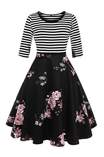 Axoe Damen A-Linie Kleid 60er Jahre Rockabilly mit Blumenrock 3/4 Ärmel Gr.36, Farbe G4, S (36 EU)