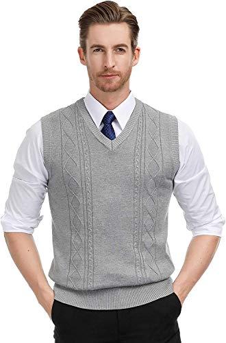 Coshow Herren West Ärmellose Pullunder Strickweste V-Ausschnitt Einfarbig Wollweste für Männer