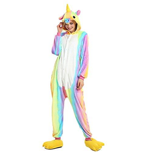 Regenboghorn Unisex Einhorn kostüme, Schlafanzug, Pyjama,für das Halloween ,Karneval und Weihnachten mit der Kapuze (XL, Regenbogen)