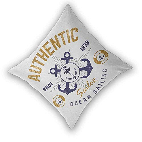 Anchor Premium Pillowcase, Authentic Nautical Print with Anchor Lifeboys and Rudder Captain Features Machine Washable Durable Decorative for Sofa, Couch, Bed and Car, W26 xL26 Golden Blue White