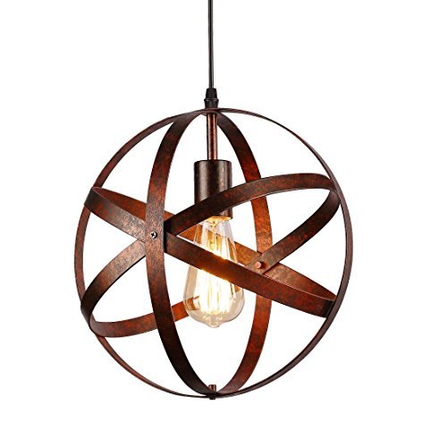 Industrial Vintage Globe Pendant Light Fixture,Metal Spherical Changeable Hanging Ceiling Light Chandelier Fixture for Kitchen Island Living Room Dining Room