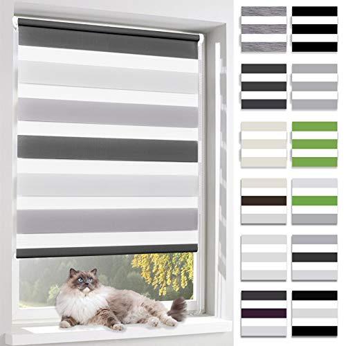 BelleMax Rollo für Tag und Nacht, doppelter Stoff, weiß, Vorhang ohne Bohren, mit Clips, mehrfarbig, 2 Arten von Installation und einfache Montage, Stoff, Weiß / Grau / Anthrazit, 80 x 150cm