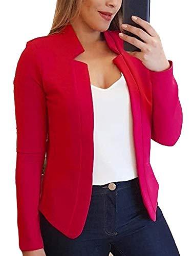 Colisha Plus Size Blazers Women Casual Suit Jackets Slim Fit Plain Cardigan Coat Outwear Tops XXL Red