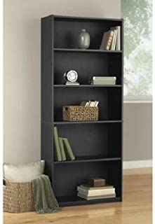 Mainstay* 5-Shelf Wood Bookcase, Black Oak (Black)