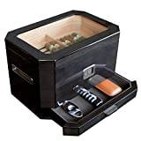 Octodor Large Black Piano Finish Glass Top Cedar Humidor with Digital Hygrometer, Humidification...