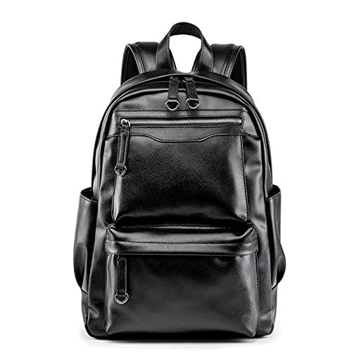 HJUIK Mochila Escolar Impermeable Mochila para Portátil De Cuero Real Hombres Mujeres Mochila De Viaje para Adolescente (Color : Black, Size : 40x32x14.5cm)