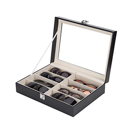 Sfeomi Brillenkoffer Brillenaufbewahrung Brillenpräsentation PU Leder Brillenbox Sonnenbrillen Aufbewahrung brillenkofferr mit Schaufenster aus Glas (8 Fächer)