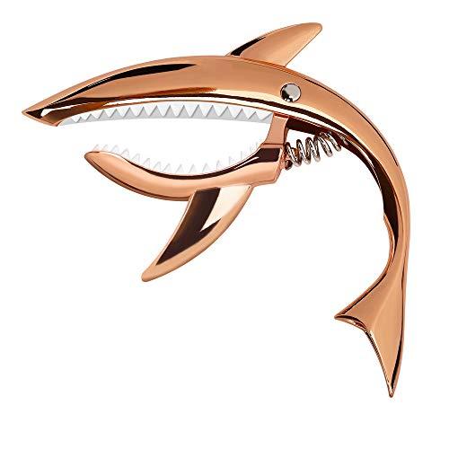Capodastre de Guitare en Alliage de Zinc Capodastre Shark pour Guitare Acoustique et Electrique, Ukulélé, Banjo, Mandoline, Basse (Or Rose)
