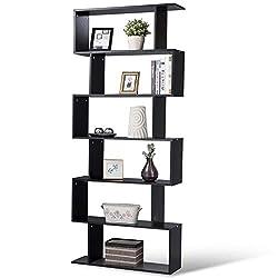 cheap 6-tiered Tangkula bookshelf, Z-shelf modern S-shaped bookshelf, multifunctional wood …