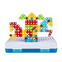 Haunen Mosaik Steckspiel Bausteine mit Schraubendreher und Elektro-Bohrmaschine 3D Puzzle DIY Spielzeug Pädagogisches Spielzeug Geschenkset für Kinder(237 Stücke)