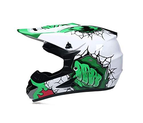SISI Casco Motocross Blanco y Verde con Gafas Máscara Guantes, Casco Moto Cross Infantil Niño para Enduro MX Quad Off Road ATV Scooter,S