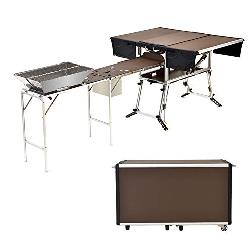 Stoge Mesa de cocinar&Barbacoa,Aleación de Aluminio Armario de Cocina Plegable,for 3-5 Personas Cena al Aire Libre/Viajes (Parrilla BBQ incluida)