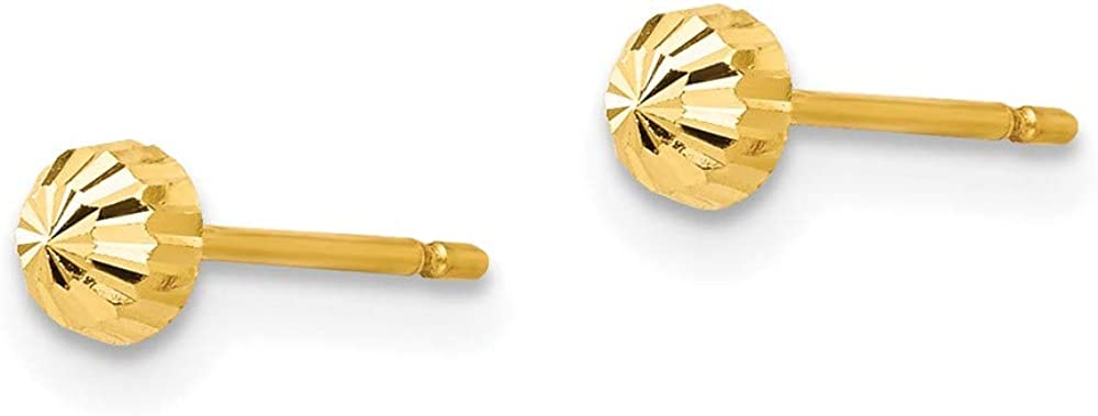 14k Yellow Gold 3mm Half Ball Post Stud Earrings Button Fine Jewelry For Women Gifts For Her