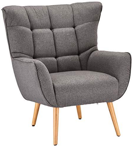 Ibbe Design Grau Bequem Ohrensessel Retro Lounge Sessel Skandinavisch Lesesessel Stoff mit Armlehnen Bruno, Sitzhöhe 47 cm, 83x86x97 cm